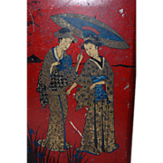 Beautiful Chinoiserie Style Red Tin Box Figural Decor