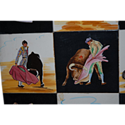 Tile Plaque, Set of 12 Old Spanish Tiles with Bullfighting Scenes