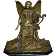 Antique Finest Bronze Seraph-im Angel w. Harp Sculpture on a Wooden Base