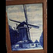 Large Framed Porcelain Tile Panel of Delft Blue & White Windmill Scene
