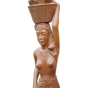 Art Deco Carved Wood Native Balinese Nude Sculpture