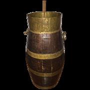 Antique Huge  Oak Wood / Brass Umbrella or Collecting Stand / Barrel,