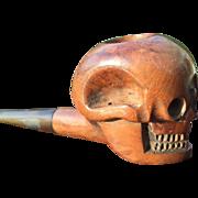 Carved Wood Figure Skull Pipe