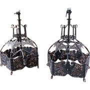 Pair Art Nouveau era Jugendstil Brass Iron Church Chandeliers