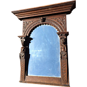 Oak Figural Wall Mirror with Putti