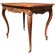 French Art Nouveau Walnut Marquetry inlaid Table