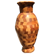 Vintage Solid Marquetry Inlaid Art Wood Turning Vase