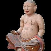 Sitting Buddha China, Late Ming Dynasty Wood Statue