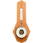Marquetry Inlaid Wood in Oak Wall Barometer