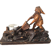 Antique Black Forest Hand Carved Gnome Sculpture Figure Stand