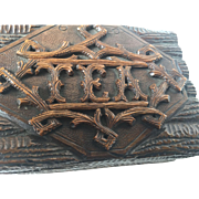 Antique Black Forest - Victorian Carved Wood Tea Box - Caddy