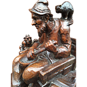 Wizard Art : Carved Wood Wizard Statue Group with Owl, Cat
