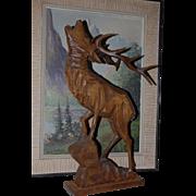 Huge Vintage Black Forest Hand Carved Wood Art Deer Stag Statue