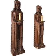 Antique Pair Oak Cloister Figure Wall lights - Sconces Sculptures