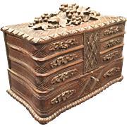Huge Antique Hand Carved Black Forest Jewelry -Treasure Box - Cabinet