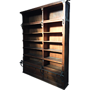 ca.1900 Large Oak Wood Bookcase with Iron Step Rod