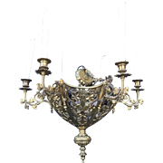 Lovely Antique Bronze Neo Gothic Art Chapel Chandelier