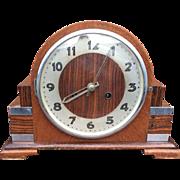 Art Deco Macassar - Oak Veneer - Chrome  8-Day Mantel Clock