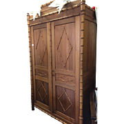 Antique French Carved Wood Faux Bamboo Armoire Wardrobe