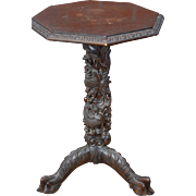 Antique Asian Carved Wood Dragon Table - Pedestal Base - Plant Stand