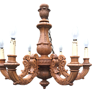 Vintage French Carved Wood Chandelier