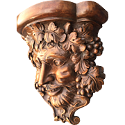 Vintage Wooden Greek God - Devil - Satyr - Demon Bracket