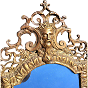 Early 1900 Bronze Figural Wall Mirror Sconce Bacchus