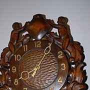SALE An Old Fine Carved Wood Figural / Nude Wall Clock, from circa 1920