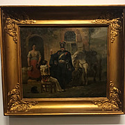 SALE A Beautiful Antique French Fine Oil Painting with soldiers on wooden panel in frame
