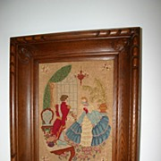 A Lovely French Fine Needlework in a Wooden(oak) Frame