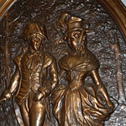 SOLD SOLD Lyn ---   An Antique Decorative Copper Figural Wall Relief / Plate