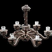SALE A Large Heavy Antique Quality Wrought Iron 6 light Chandelier Floral Design