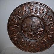 SALE An Antique Copper Decorative Wall Relief / Plate, portrait painter