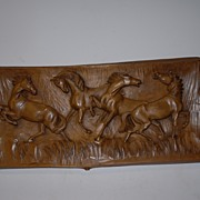 """A Fine Carved Wood Wall Relief  """"A Group Wild Horses"""","""