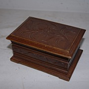 SALE An Antique Carved Wood Black Forest Jewelry Box