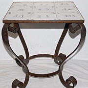 SALE An Antique Scrolled Wrought Iron Table with 9 Antique Painted Tiles(19thC.) on the top