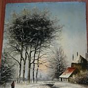 SALE An Antique Painted Winter Landscape on Wooden(oak) Panel
