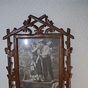 SALE Vintage Black Forest Wooden Picture Frame