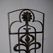 SOLD An Art Nouveau Wrought Iron Floral Fireplace Screen