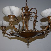 SALE A Beautiful Bronze 5-light Chandelier with Alabaster Shades