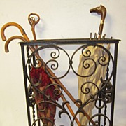 SOLD A Heavy Antique Scrolled Quality Wrought Iron Umbrella/Cane Stand Display
