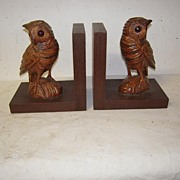 SALE A Pair Antique Fine Carved Wood Black Forest Owl Bookends
