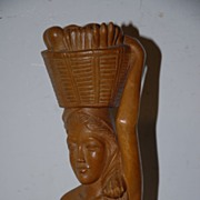 SALE An Art Deco Carved Wood Javanese Lady Sculpture