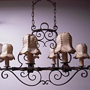 SALE A Gorgeous Museum Quality Wrought Iron 6-light Chandelier