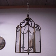 SALE A Huge French Antique Bronze Hanging 3-light Hall Lantern / Fixture