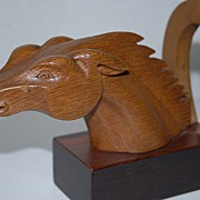 A Pair Art  Nouveau  Fine Carved Wood Horse Head Bookends , from circa 1920.