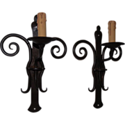 Graceful Pair Quality Wrought Iron 1 light Wall Sconces