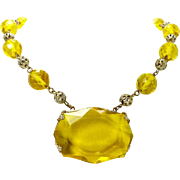 Cut Crystal & Brass Filigree Czech Bead Necklace Art Deco, c. 1925