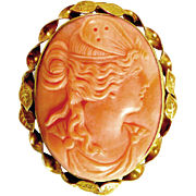 Late Victorian 14 K Yellow Gold Carved Coral Cameo Brooch ~ Psyche