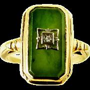 Nephrite Green Jade Art Deco 10 K Lady's Ring with Diamond